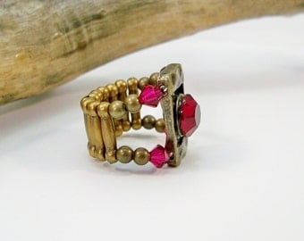 Ruby Red and Bronze Stretch Band Ring, July Birthstone, Red Cocktail Ring, Rhinestone Ring, Bronze Ring, Ruby Crystals, Antique Gold