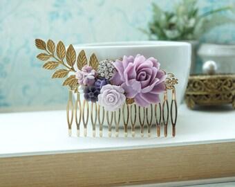Lavender Rose Large Comb, Large Gold Comb, Large Leaf Comb, Vintage Inspired Lilac Comb, Bridal Comb, Purple Wedding Comb, Purple Gold Comb