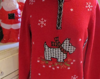 Ugly Christmas Sweater - Red Black White Scotty Dog - Houndstooth - Sz L - Same Day Shipping - Ugly Sweater Christmas Party - Tacky Sweater