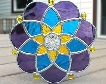 Stained Glass Suncatcher in Amethyst Purple, Bright Blue and Lemon Yellow