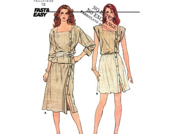 80s Top & Skirt Pattern Butterick 4972 Asymmetrical Closing Top Square Neckline Womens Size 12 Easy Sewing Pattern UNCUT