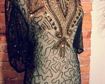Sheer Ornate Beaded Silk Dress