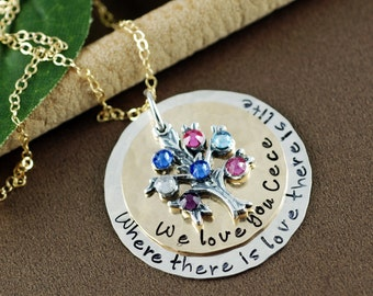 Where there is love there is life Necklace, Hand Stamped Necklace, Sterling Silver Family Tree Necklace, Personalized Tree of Life Jewelry