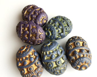 Boho Medieval-looking Embossed Oval Beads in Muted Blue and Purple with Metallic Accent-- Set of Six