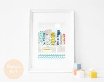 Tokyo Print, Tokyo Art Skyline Print, Japanese Art Print, Skyline illustration, Home, Office, baby, children babies room, SPPT1