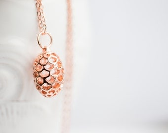 Pinecone Necklace Rose Gold Hollow Pendant Boho Pendulum Pendant Long Gold Necklace modern minimalist jewelry