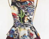 "Diva Apron -  Hot Rod Pin-up girl print.   Say's ""Rod's Drive-in"".  Hot rods, ruffles and lace!"