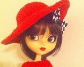 Wide Brim Diva Style Red Hat- For Pullip
