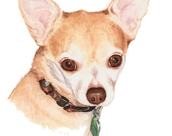 Watercolor Custom Pet Portrait *CONVO FOR AVAILABILITY* Dog Portrait,  Chihuahua Portrait, Terrier Portrait, Wall Art,  Dog Lovers Gift