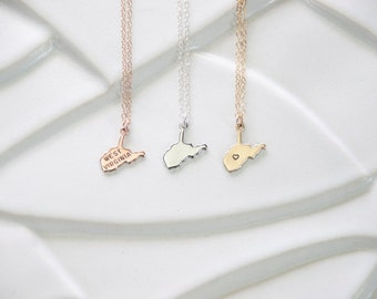 West Virginia State Necklace, Rose Gold State Small West Virginia, Gold West Viginia State Charm, West Virginia Necklace Sterling, Bracelet