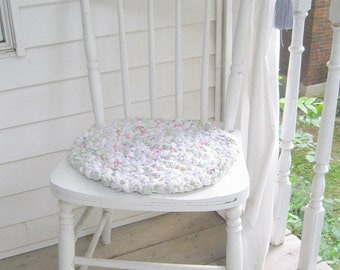Braided Chair Pad, Chair Pad,  Cottage Decor, Braided Rag Rug, Pastel, Shabby Cottage, Vintage Nursery, by mailordervintage on etsy