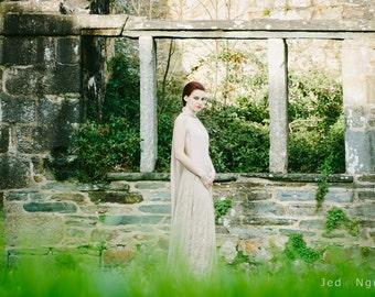 Backless lace wedding dress, lace wedding dress, bohemian wedding dress, maxi lace dress, champagne wedding dress, long dress lace overlay