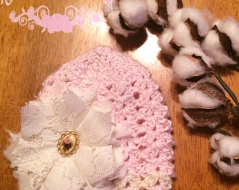 Vintage Lacy Crochet Baby Hat - Newborn, Gift, Baby Gift, Flower, Baby Girl, Baby Beanie, Baby Girl Hat, Baby Girl Beanie