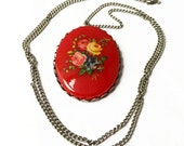 Red Cabochon Necklace, Vintage Rose Necklace, Rose Jewelry, Red Floral Necklace, Red and Silver Necklace, Red Necklace, Red Flower Necklace