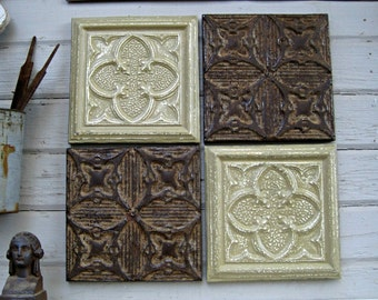 Antique Ceiling Tin Tiles. Set of 4) FRAMED.  Rustic & Chippy Paint.  Vintage metal tiles architectural salvage. Vintage decor. Pressed tin.