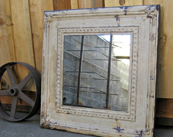 Old Ceiling Tin Tile Mirror. Architectural salvage. Rustic mirror. Primitive farmhouse mirror. Chippy paint. Pressed tin mirror. Wall mirror