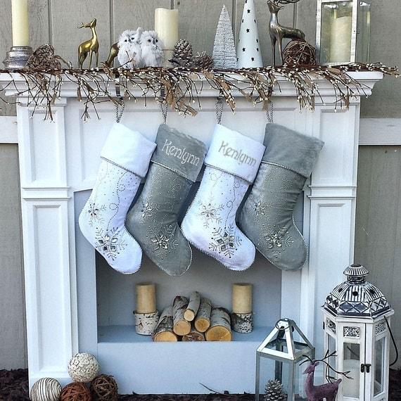 Personalized Christmas Stockings Silver White Velvet