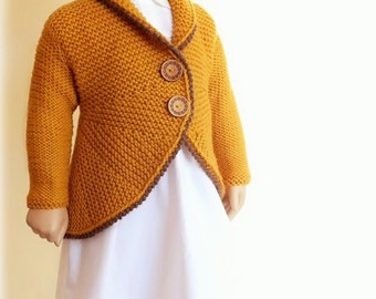 Hand Knit Sweater Girls Knit Jacket Cardigan Custom Knit Blazer Many colors available