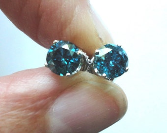 Blue Diamond Stud Earrings 1/2 Carat Each, 1 carat TW in 14k Gold Vintage 5m Round Genuine Blue Diamond Stud Earrings in 14k Gold Post Studs