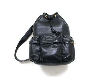 Vintage Leather Backpack / Drawstring Bucket Bag / Black Leather Knapsack
