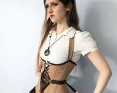 "Sample SALE- 21"" (for 23-27"" waist)- Steampunk Fan Lacing Corset, mocha brown underbust corset, steel boned, OOAK"