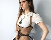 """Sample SALE- 21"""" (for 23-27"""" waist)- Steampunk Fan Lacing Corset, mocha brown underbust corset, steel boned, OOAK"""