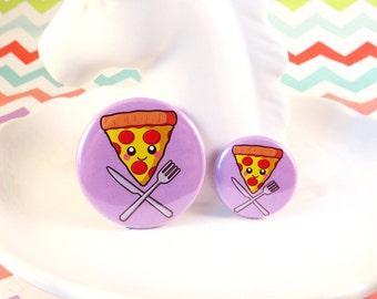 Pizza Slice Badge 25mm 38mm, kawaii pizza badge, happy pizza badge, pizza pin badge, cute button badge, fun round badge, pizza gift