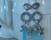 Beach earring, sea glass earring, sea shell earring, blue and silver, dangle earring, boho earring, beach charms, long earrings