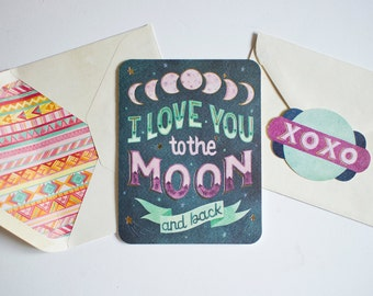 Set of 2 Anniversary I Love You to the Moon and Back Greeting Cards, Sentimental Card for Wife, Husband Anniversary Card, Love Note To Child