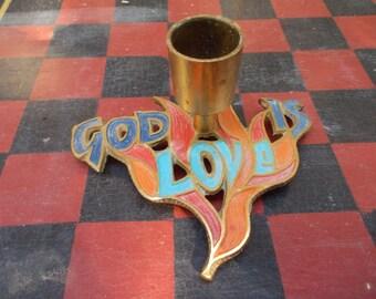 "Vintage Terra Sancta IsraelCast Metal ""God Is Love"" Candle Holder"