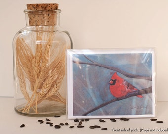 """Cardinal Note Cards- 8 Note Cards with Envelopes Featuring a """"Northern Cardinal"""" Painting- Watercolor Art by Laura D. Poss"""