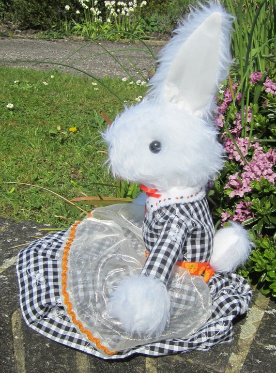 White Plush Rabbit Toy, Dressed in Black White Gingham Frock, Shower Basket Gift, Cool Collectable Toy, Toy for Tots, Cool Toy for Toddlers.