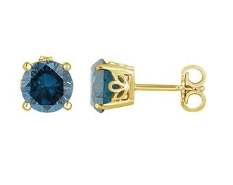 Fancy Blue Diamond Stud Earrings 1.92 Carat 14K Yellow Gold Gallery Design Handmade Certified