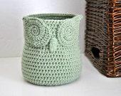 Sage Green Owl Basket Crocheted Bin Yarn Holder Gender Neutral Woodland Nursery Decor Modern Home Organizer