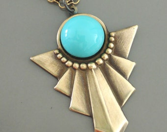 Art Deco Necklace - Turquoise Necklace - Vintage Necklace - handmade jewelry