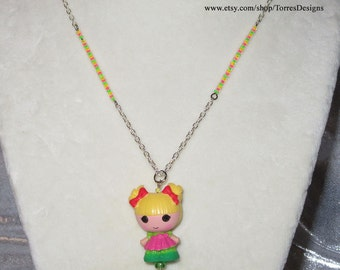 Lalaloopsy Holly Sleighbells Pendant Necklace Custom made with Glass Beads by TorresDesigns OOAK One of a Kind Ready To Ship