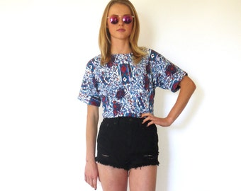 80s Blue Abstract Print Fitted Cropped T-Shirt xxs xs