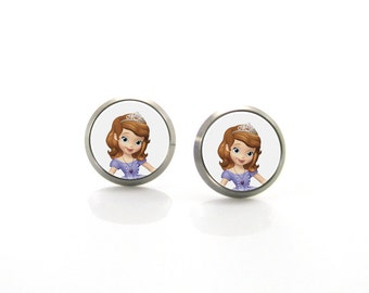 Princess Sofia Titanium Post Earrings | Hypoallergenic Sensitive Stud | Titanium Stud Earrings | Funny Girls earrings | Children Earrings