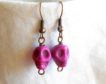 Light Purple Skull Earrings Surgical Steel French Hooks Option