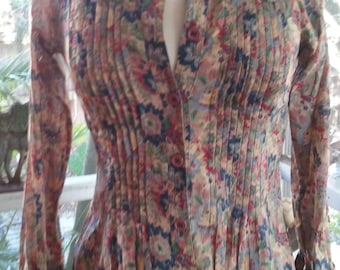 70s ALBERT NIPON--Floral Cotton Voile Top--Off-Center Bow--Pin Tucks--Sheer--Muted Colors--Dropped Shoulders--Size 4