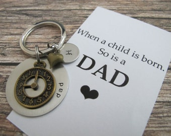 First time dad Personalized name keychain. New dad Gift, New dad Keychain custom name Keyring, Fathers day gift, 1st fathers day gift