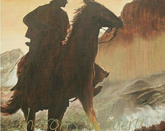 8 x 10, matted Cowboy- professional art print of original oil painting