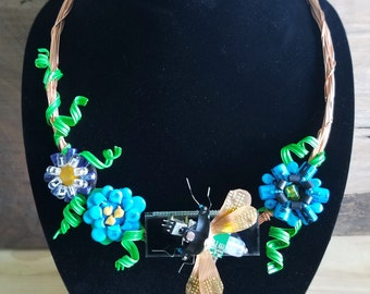 Recycled Computer Part Circuit Board Necklace Flowers Insect