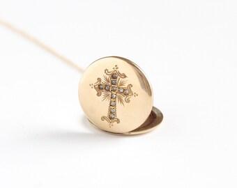 Antique 12k Gold Filled Rhinestone Cross Locket Necklace - Vintage Edwardian 1900 Religious Large Catholic Pendant Fob Picture Jewelry