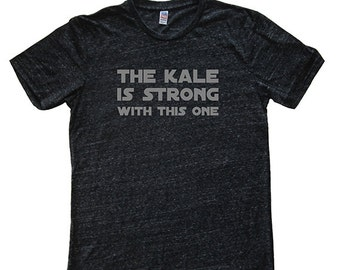 Mens T Shirt - Kale Tshirt - Foodie Tee - Kale is Strong with This One T Shirt - Mens / Unisex Tri Blend Dark Gray - Sizes S, M, L, XL