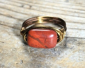 bohemian red Rainbow Jasper gemstone stone Ring - size 8 3/4 , 8.75 wire wrapped - antique brass / gold - handmade jewelry men women natural