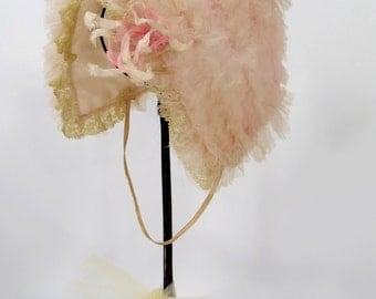 Vintage Ruffled Tulle Baby or Doll Bonnet, Madame Alexander Kathy Doll Hat, Pink Ribbon Work Flower, Lace Trim & Tulle Netting