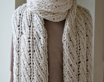 Crochet Scarf Pattern, The Sullivan Crochet Scarf Pattern, Women's Scarf Pattern, Crochet Pattern, Crochet Patterns, Chunky Cabled Scarf