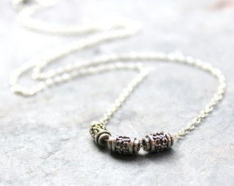 Sterling Silver Necklace Bali Bead Necklace, Delicate Jewelry Necklace Simple Everyday