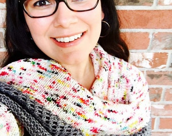 Graffiti Shawl Knitting Pattern Knit Triangle Scarf Shawl Speckled Yarn DIY Mothers Day Gift WWKIP Day
